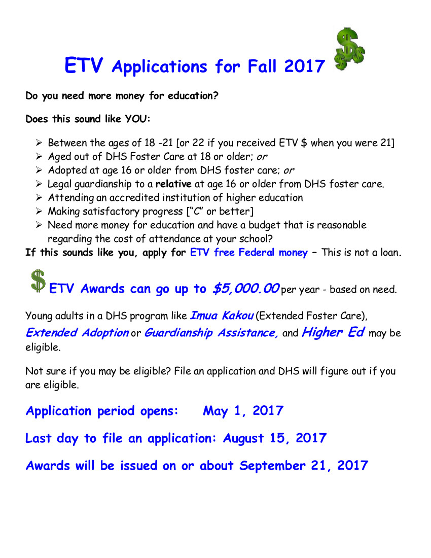 ETV Applications for Fall 2017